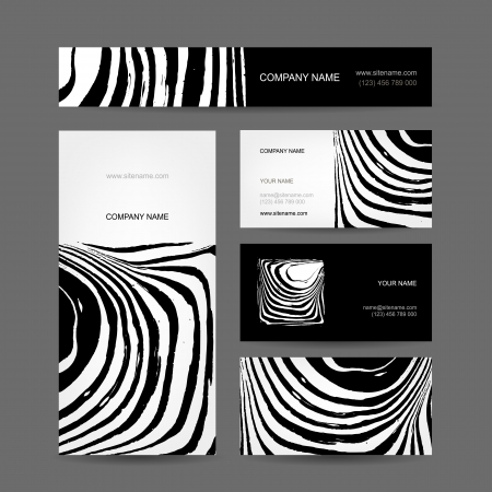 Set of abstract creative business cards, zebra print design Vector