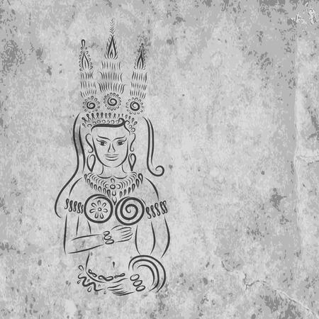cambodia sculpture: Apsara on grunge wall