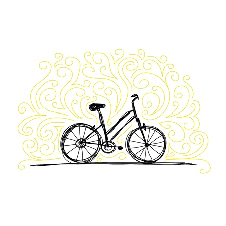 Sketch of bicycle on ornamental wall Vector