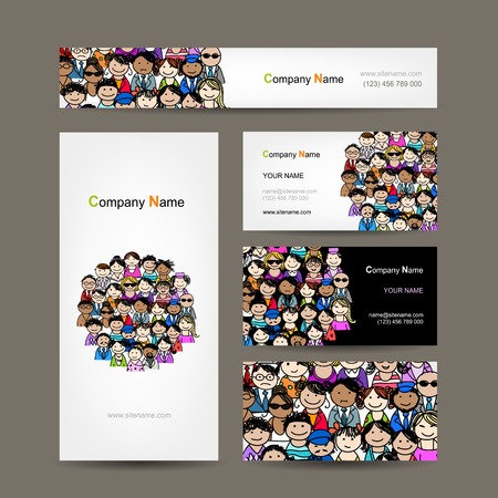 teamwork cartoon: Business cards collection with people crowd design