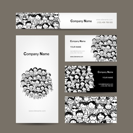 corporate meeting: Business cards collection with people crowd design