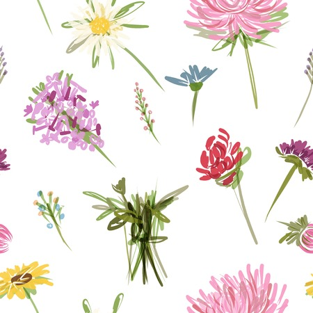 Garden flowers seamless pattern