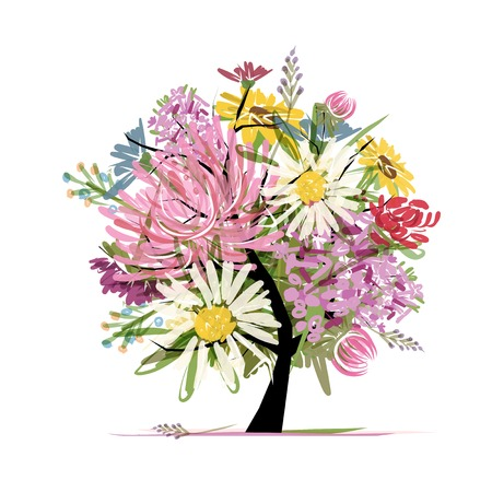 aster: Floral summer bouquet tree
