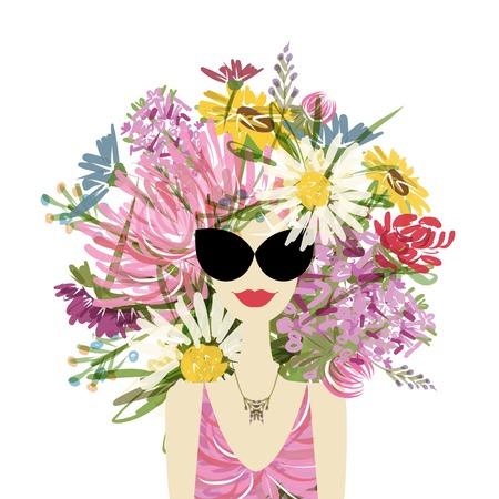 Vrouwelijk portret met bloemenkapsel Stock Illustratie