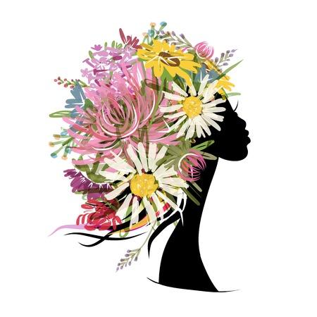 donna farfalla: Ritratto femminile con acconciatura floreale Vettoriali