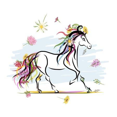 Dibujo Caballo con decoración floral Foto de archivo - 26618993