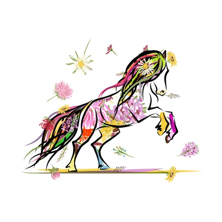horse running: Horse sketch with floral decoration