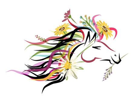 horse head: Horse head sketch with floral decoration Illustration
