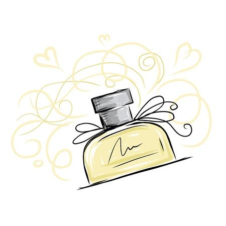 Sketch of perfume bottle Vector