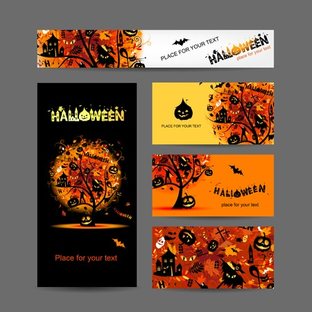 halloween tree: Invitation cards design for halloween party