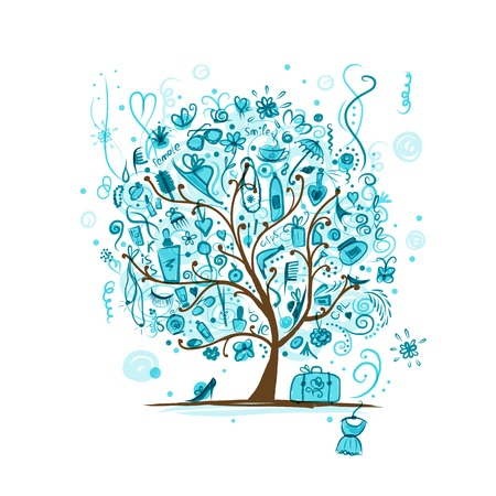 Art tree with female accessories for your design Vector