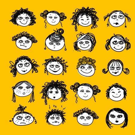pigtails: Set of female faces for your design