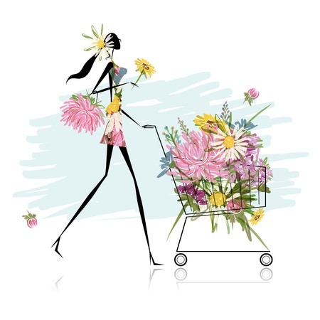 hand cart: Woman with floral trolley for your design Illustration