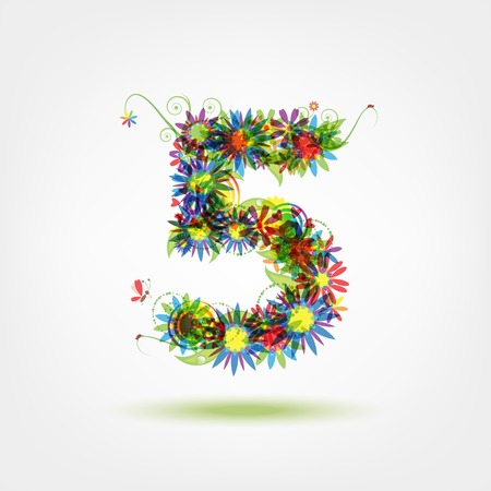 numeric: Five, floral number for your design