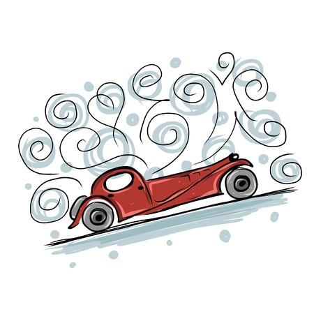 car ornament: Retro old car sketch for your design