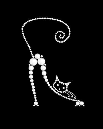 Gato hecha de perlas blancas sobre negro