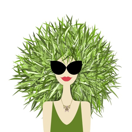 Female face with green grass hairstyle for your design