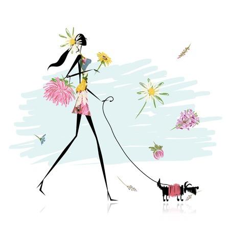 강아지와 함께 산책하는 꽃 소녀 일러스트