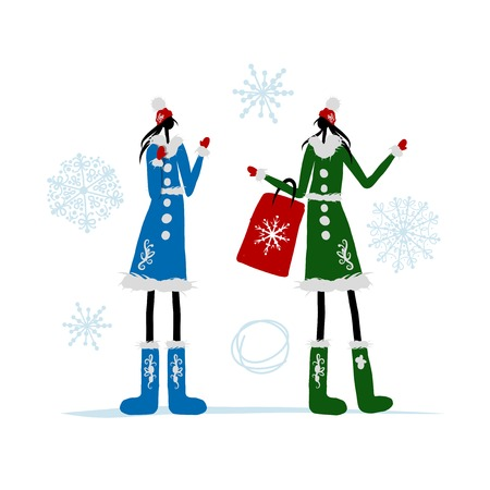 woman in fur coat: Girls in winter coat with shopping bag for your design