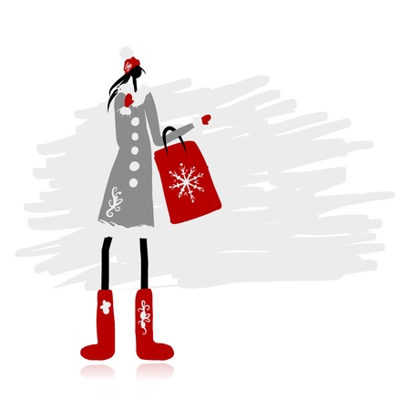 woman in fur coat: Girl in winter coat with shopping bag for your design