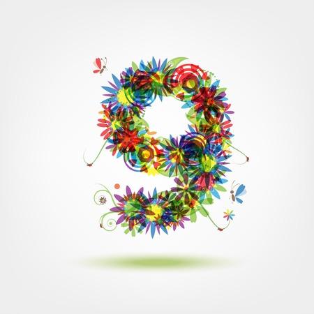 numero nueve: Nueve, número de flores para su diseño Vectores