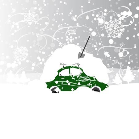 entrada da garagem: Carro com banco de neve no telhado, nevasca de inverno Ilustração