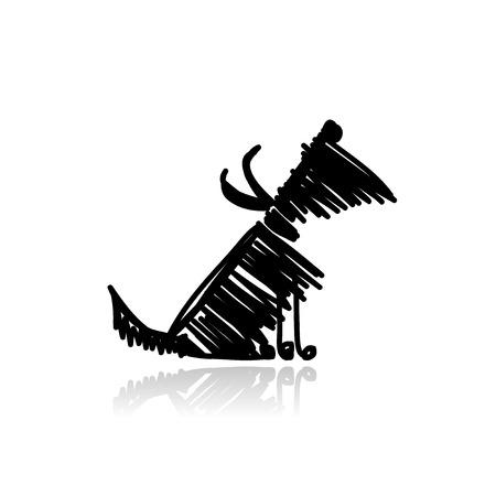 あなたのデザインの面白い黒犬  イラスト・ベクター素材