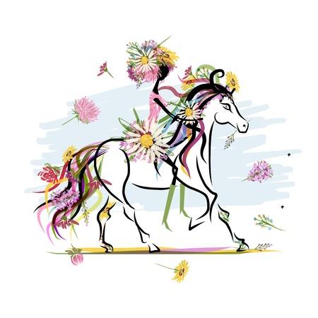 Bloemen meisje op het witte paard voor uw ontwerp