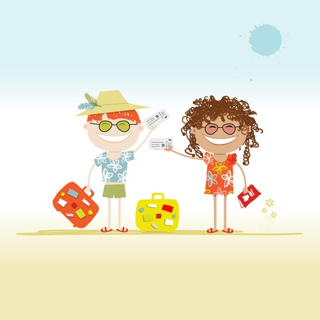 honeymoon couple: Happy tourists with tickets and suitcases for your design Illustration
