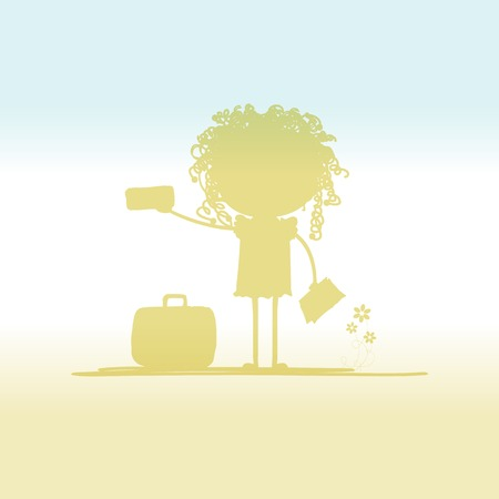 Happy tourist with tickets and suitcase for your design Vector
