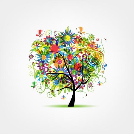 Sommerblumenbaum für Ihr Design Illustration