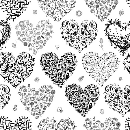 Seamless pattern with valentine hearts for your design Vector