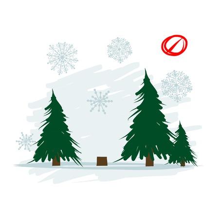 felling: Felled tree in forest, vector illustration