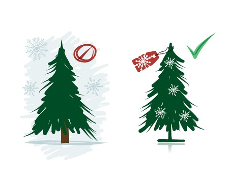 Artificial Christmas trees instead natural from forest Vector