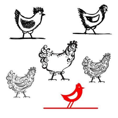 Set of chicken ornate silhouette for your design Illustration