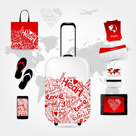 Romantic travel suitcase with set of trip things Vector