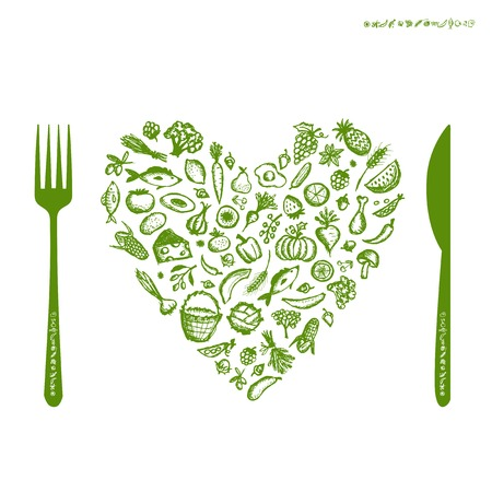 Healthy food concept, heart shape sketch for your design Vector