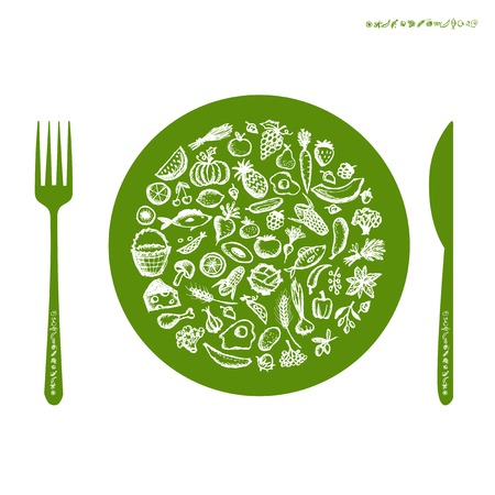 Healthy food concept, sketch for your design Vector