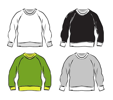 casual hooded top: Abstract sweatshirts set sketch for your design