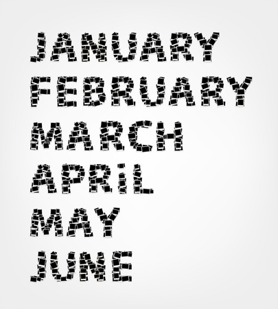 months of the year: Months of year made from photo frames