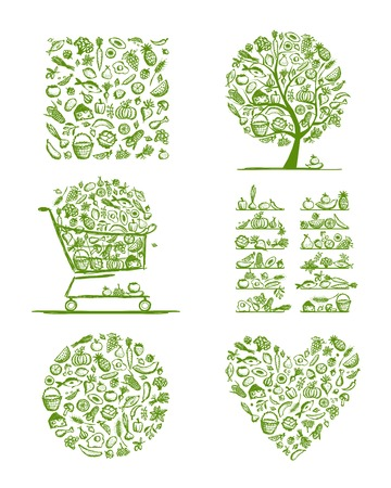 Gesunde Lebensmittel-Set, Skizze für Ihr Design