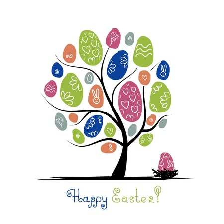 rabbit silhouette: Art tree with easter eggs for your design