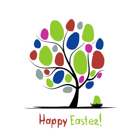 easter tree: Art tree with easter eggs for your design