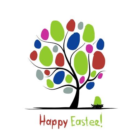 arbol de pascua: Arte árbol con huevos de Pascua para su diseño Vectores