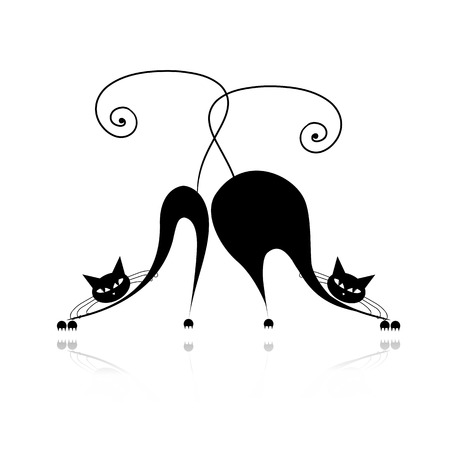 Funny thick and thin cats silhouette for your design Vector