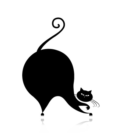 Funny big cat silhouette for your design Vector