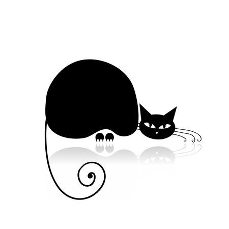 Silueta de gato negro para su diseño Foto de archivo - 27151206