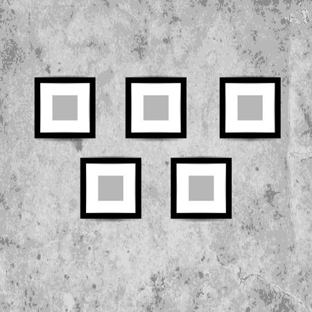 mur grunge: Image Retro cadres sur le mur grunge pour votre conception Illustration