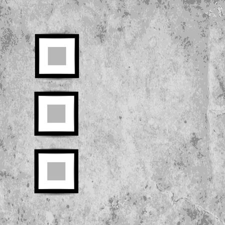 mur grunge: Photo r�tro cadres sur le mur de grunge pour votre conception Illustration