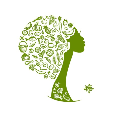 Healthy food concept, female head with vegetables Vector